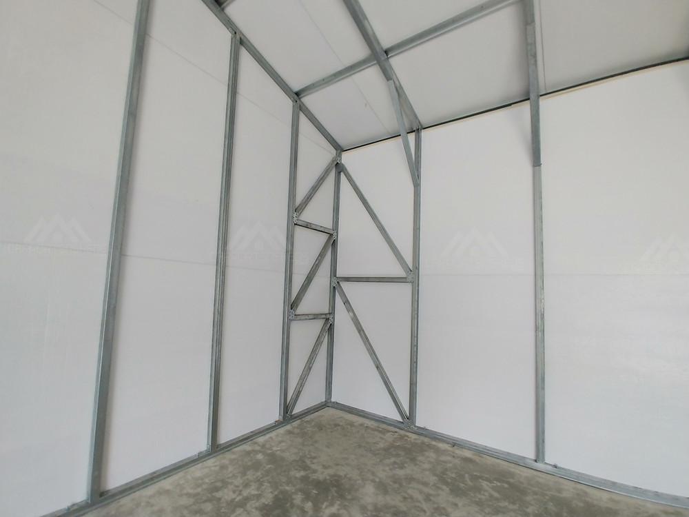 Corner bracing on a 30x50x12 prefab metal garage