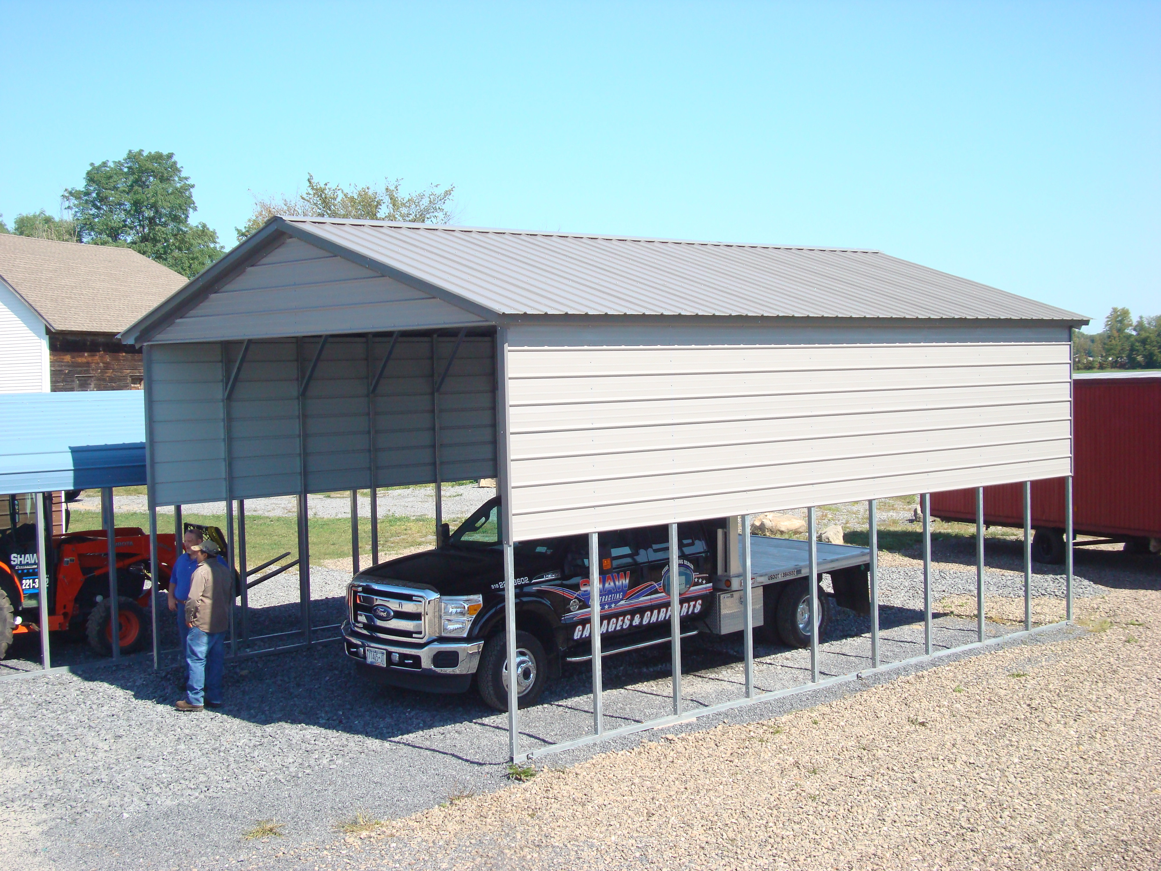 rv cover vertical 22 wide 21 length 12 leg height vertical roof 14 gauge frame certified on concrete 4 extra - Rv Cover