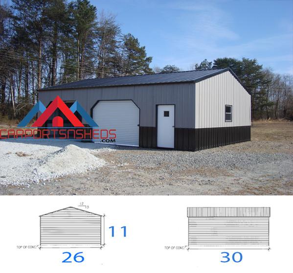 26x30x11 Colonial Style Prefab Metal Garage