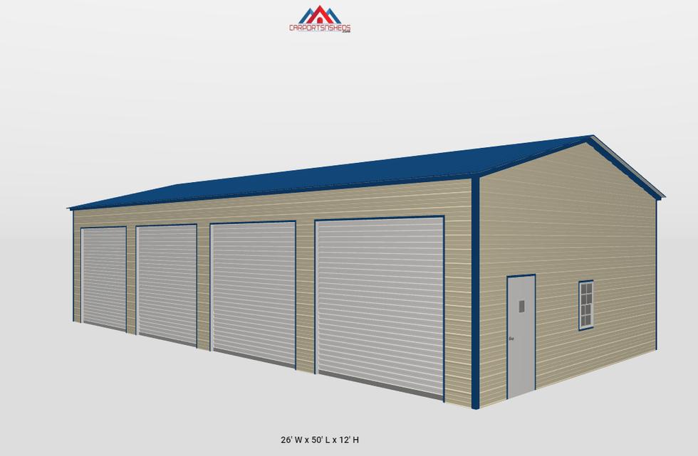 f11-2 26x50x12 4 car metal garage side v