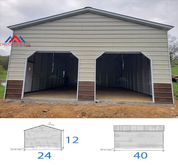 24x40x12 metal garage with 2 8x8 roll