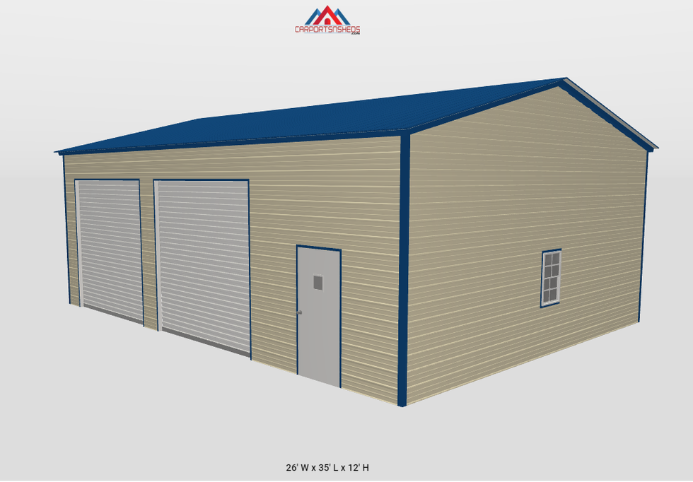 f5-2 26x36x12 metal garage with 2 roll u