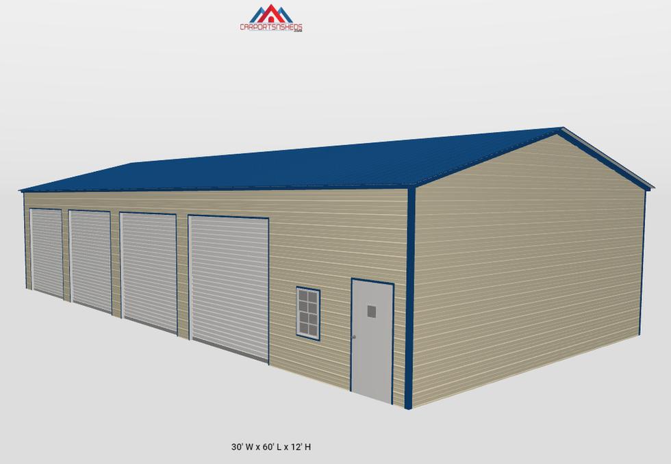 f14-2 30x60x12 4 car metal garage side v