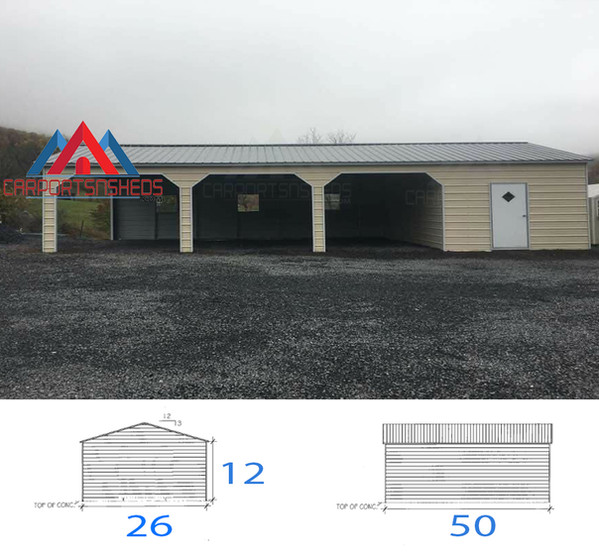 80 26x50x12 custom metal garage with 10x