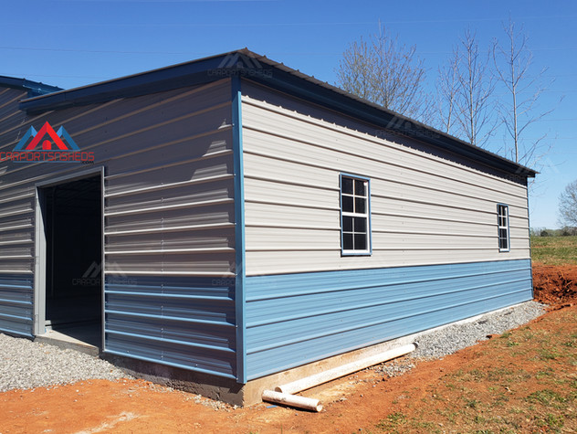 right corner view of a 50x30 metal barn