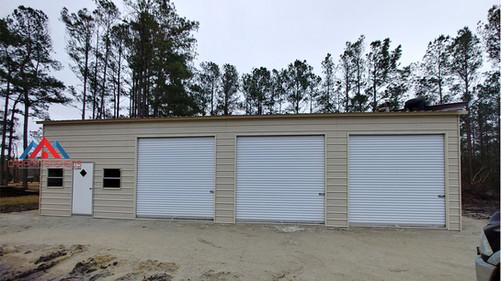 30x50x12 Prefab Metal garage with 3 roll up doors