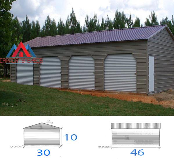 4 Car premanufactured metal garage