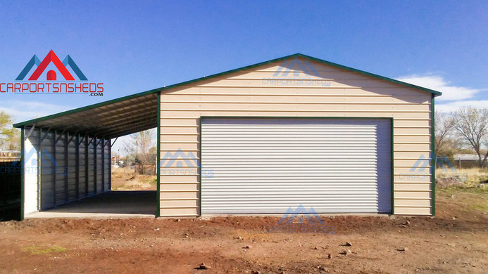 prefab metal garage with lean to shed
