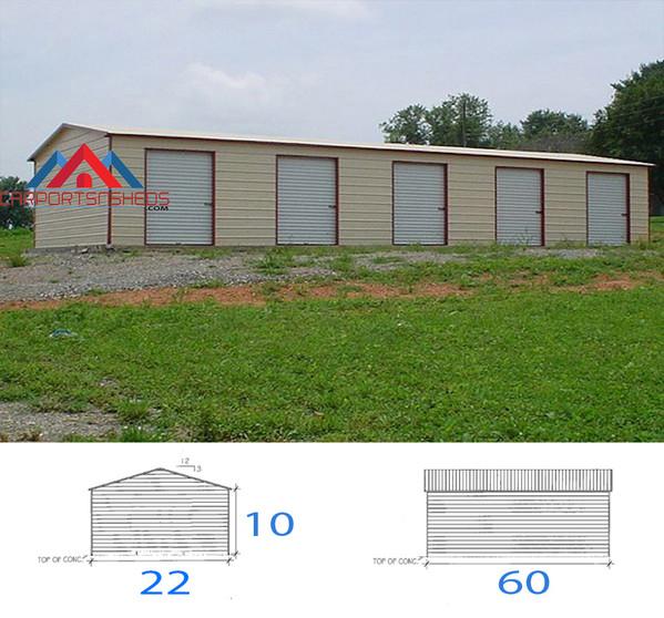 22x60x10 5 car garage