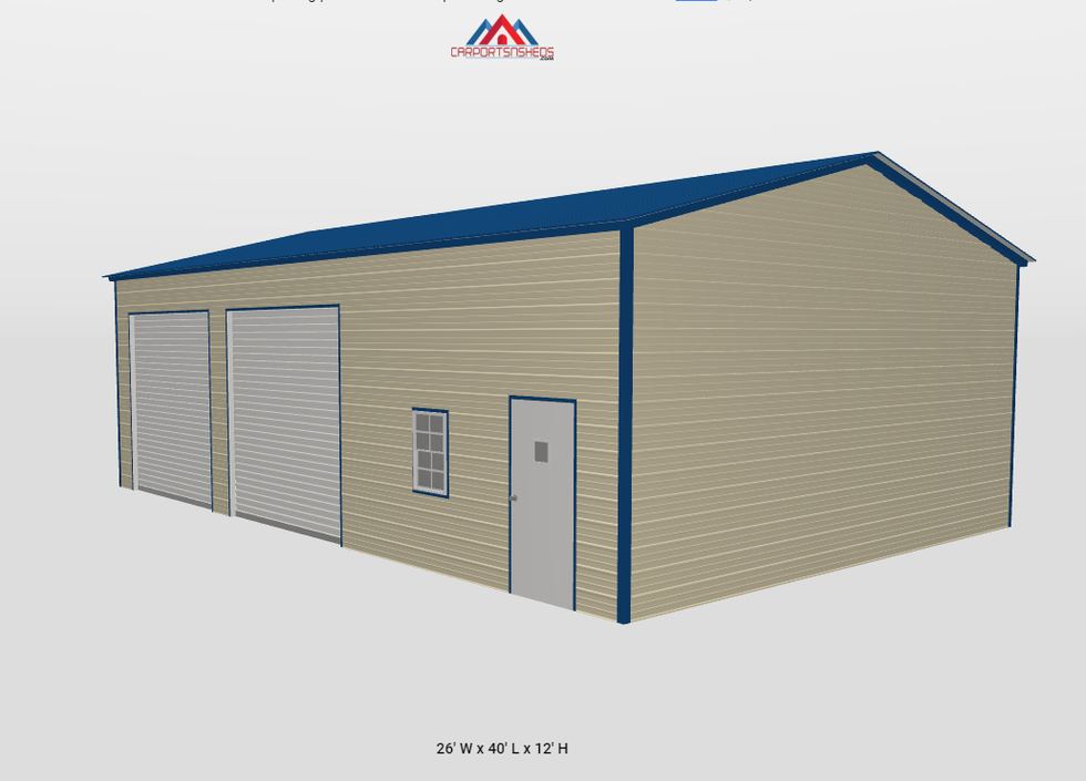 f6-2 26x40x12 Metal Garage as seen from