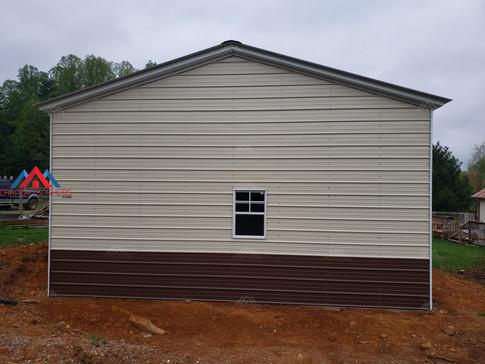 gable end on a 24x40 metal garage 2 tone walls