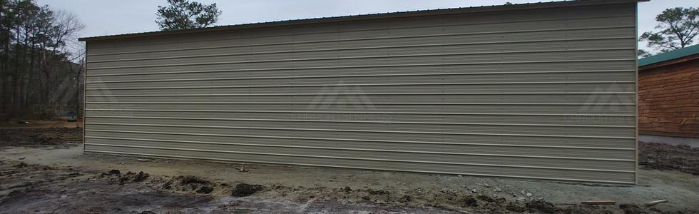 back view of 30x50x12 Metal garage