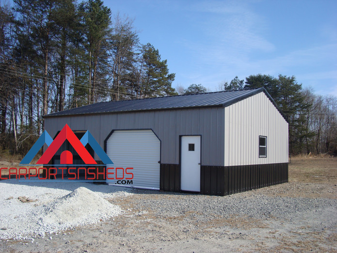 prefab metal garage with vertical sides and ends