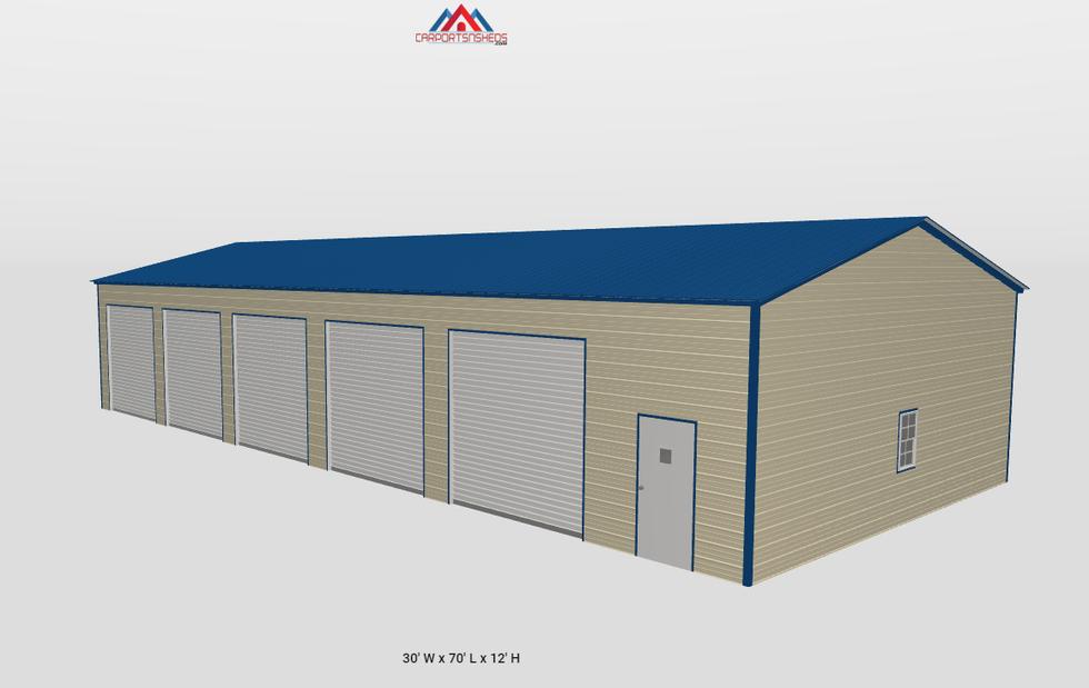 f15-2 30x70x12 5 car metal garage side v
