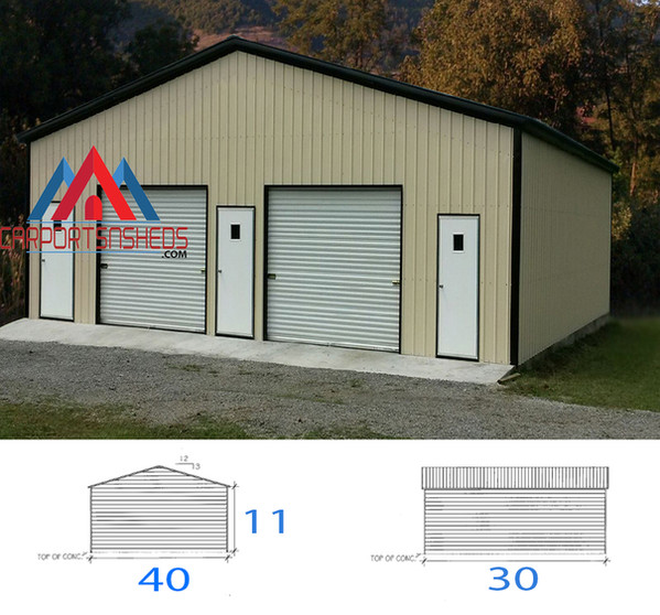 2 car prefabricated metal garage