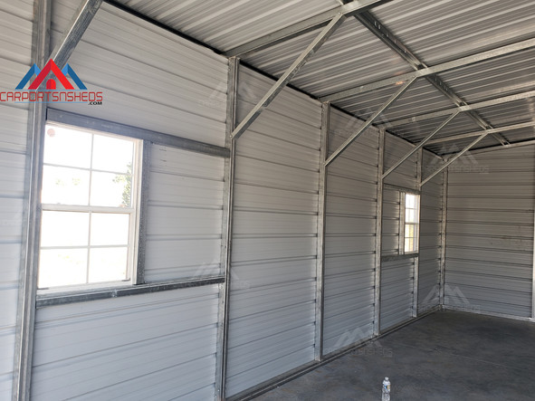 view of the window frame outs in a 50x30x14 metal barn