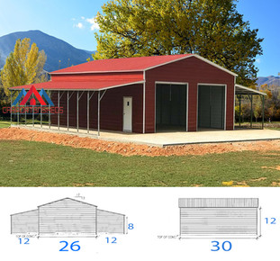 Metal building with 2 lean to