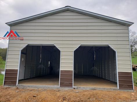 front of a 2 car 24x40 metal garage