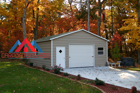 Single-Garage, Prefab boxed eave metal garage, boxed eave metal garage, Steel garage kit,