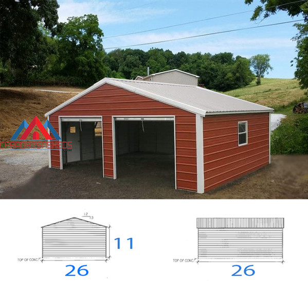 26x26x11 Prefabricated Metal Garage