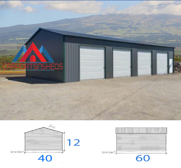 40x60x12 Prefabricated metal garage
