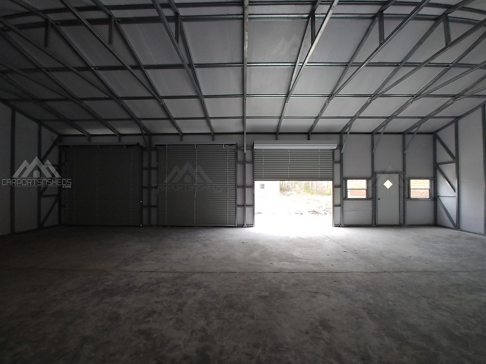 inside look of a 30x50 prefab metal garage frame