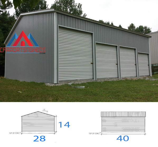4 car garage, metal garage, prefabricated metal garage, steel garage