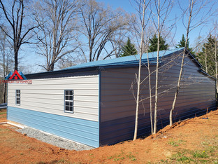 right and back view of the 50x30 metal barn