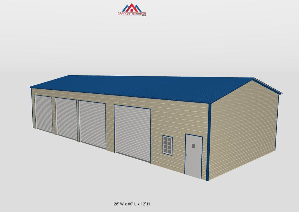 f12-2 26x60x12 4 car metal garage side v