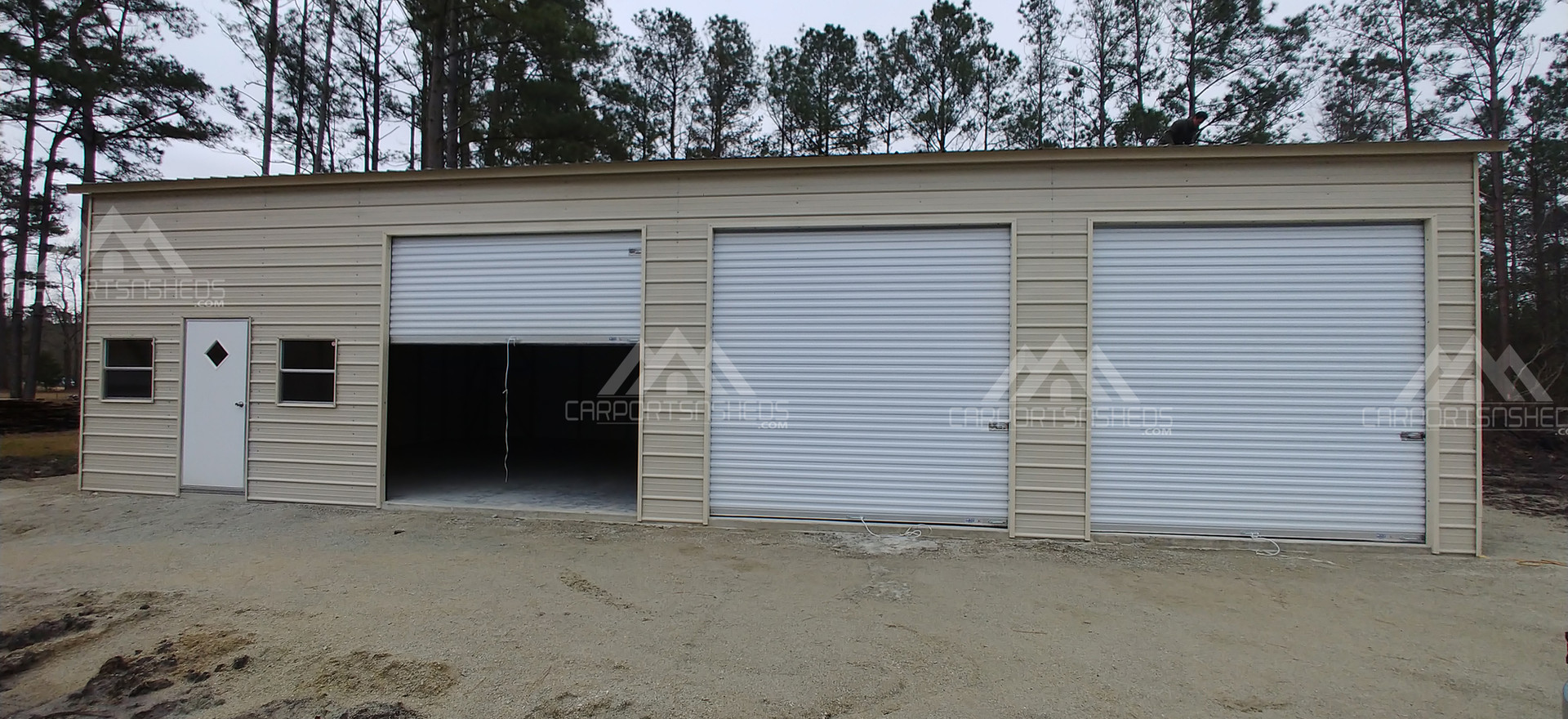 30x50x12 metal garage with door open
