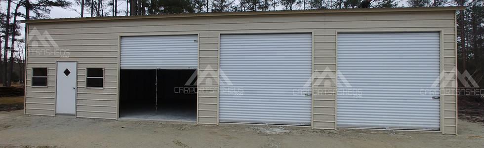 30x50x12 metal garage with door open