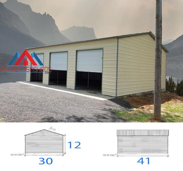 3 car premanufactured metal garage