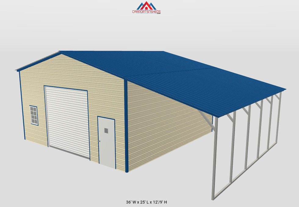 f2-2 one car garage with lean to shed si