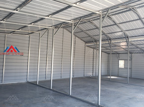 interior view as seen from corner of a 50x30x14 metal barn