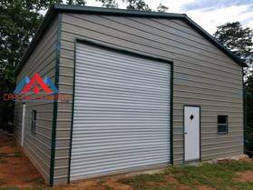 Prefab metal garage, large door