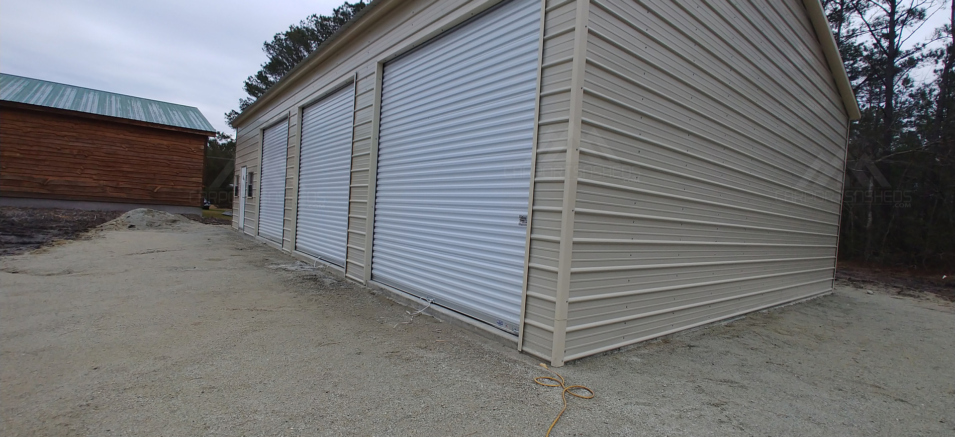 Side view of 30x50x12 Metal Garage