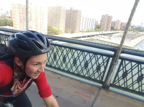 Sara biked the Manhattan Bridge a whole dang lot of times