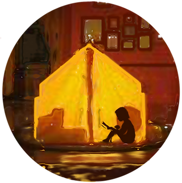 Flashlight Book's logo image: a child sitting in an illuminated tent, reading a book.