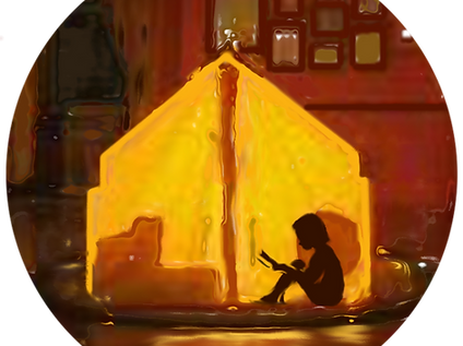 Flashlight Books' logo image: a child sits reading in an illuminated tent.