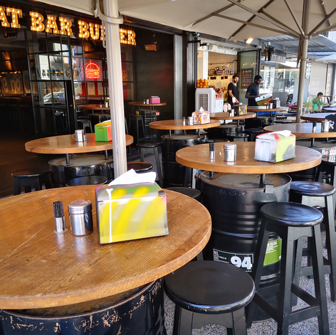 MB BURGER | HERZLIYA | PUBLIC SPACE DRUMS & DISPENSERES DESIGN