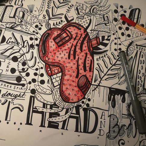 TOOK MY HEAD TOOK MY HEART   ORIGINAL WORK ON PAPER  