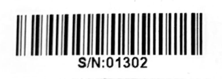 Example of a serial number barcode sticker found on the side of the product box.
