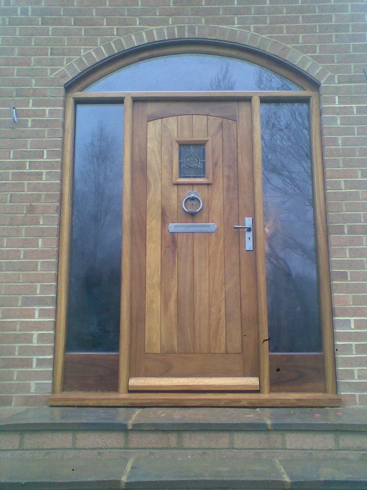 Hardwood Front Door with Stained Glass Glazing