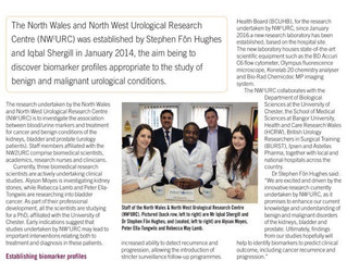 Urological Research: A profile of the North Wales & North West Urological Research Centre