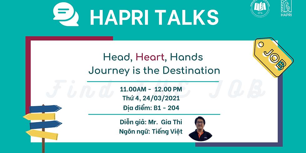 HAPRI TALKS 3: Find THE JOB: Head, Heart, Hands – Journey is the Destination