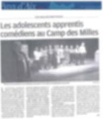 article Tamalou camp des Milles la prove