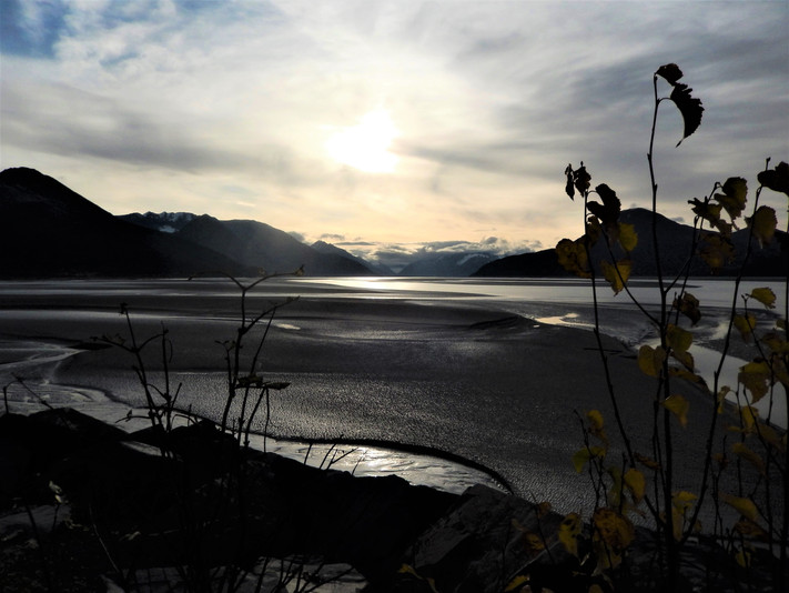 AK inlet sun over water