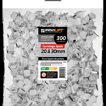 Sachet de 300 croisillons autonivelants PAVILIFT carrelage épais 20-30mm en I