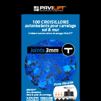 Sachet de 100 croisillons autonivelants PAVILIFT 3mm en T