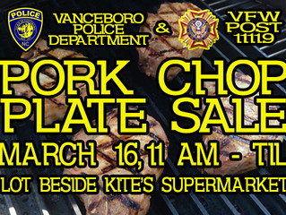 Mark your calendars and share!! The Vanceboro Police Department will be having their annual food pla